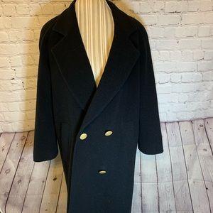 Stephanie Andrews 3/4 length black wool coat, 2P
